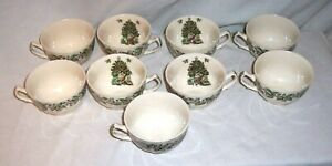 """ Christmas Tree & HOLLY "" Tea Coffee Cups Set of 9  Made in England Vintage"