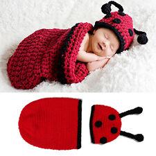 Handmade Newborn Baby Pods Ladybug Cocoon Hat Set Crochet Photo Props Costume