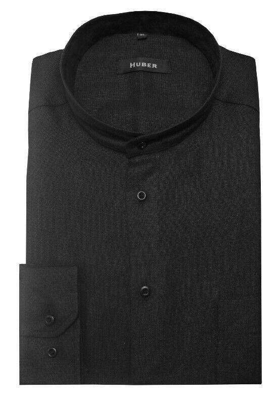 HUBER Stehkragen Herren Hemd 100% Leinen schwarz Made in in in EU. HU-0050 Regular  | Exquisite Verarbeitung  1a7607