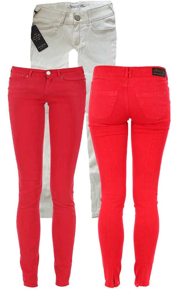 Pepe Jeans SEVENTY THREE Damenjeans MILEY Rot Creme Damen Hose Capri Slim 7 8