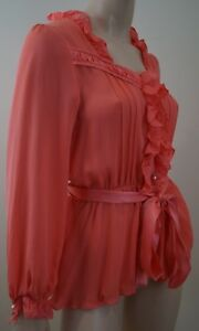 Blouse Los Top Evening Coral Us8; Angeles Silk 100 Uk12 Sheer Meghan Pleated 8qCTwdT