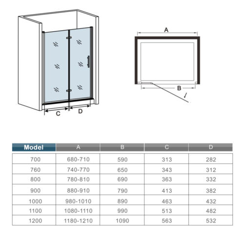Aica Frameless BiFold Shower Door Enclosure Tray Save Space 700//760//800//900//1000