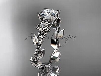"""14k white gold diamond flower engagement ring """"Forever One"""" Moissanite ADLR238"""