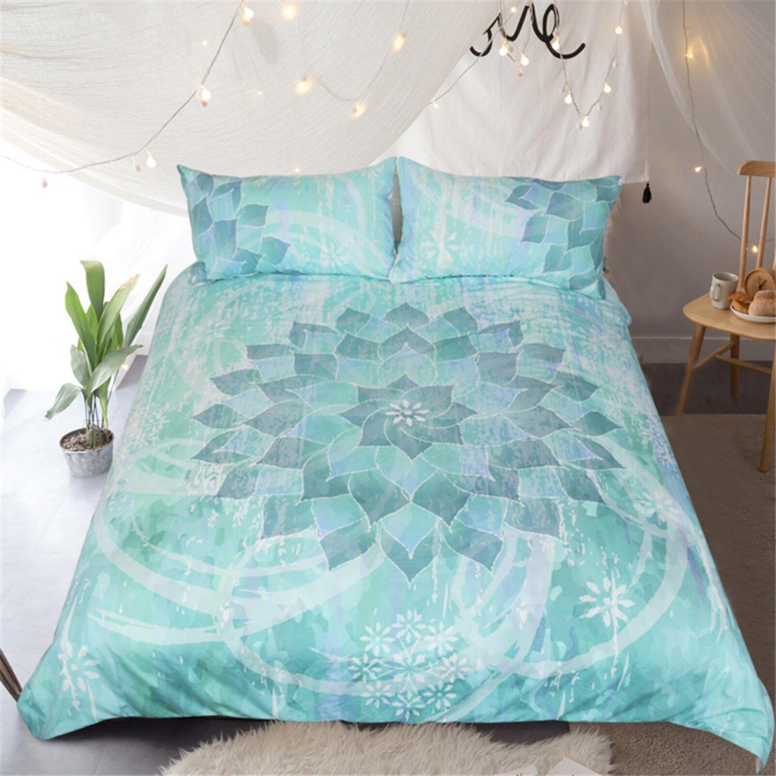3D verde Lotus 403 Bed Pillowcases Quilt Duvet Cover Set Single Queen CA