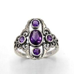ring amethyst amethyste 925 Sterling silber antik style