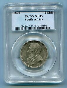 PCGS-Certified-Xf-45-1896-2-Shillings-Kruger-Era-Coin-South-Africa-ZAR