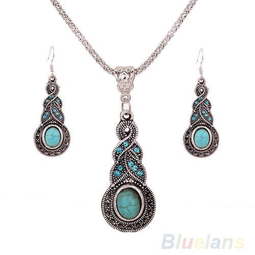 Unique Womens Retro Turquoise Rhinestone Earrings Necklace Jewelry Set B84U