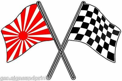 JAPANESE FLAG CROSS CHECK FLAG RACING DECALS STICKERS - CHOICE OF SIZES
