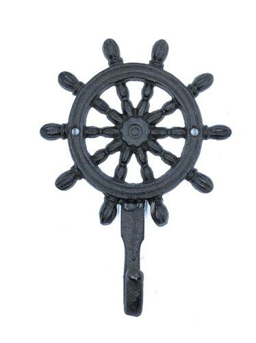 Ship Wheel Coat Towel Hook Nautical Rustic Cast Iron Beach Ocean Rustic Decor