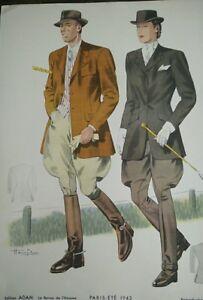 Engraving-Fashion-Paris-Summer-1942-La-Magazine-L-039-Man-Signed-Hamjic-Vintage
