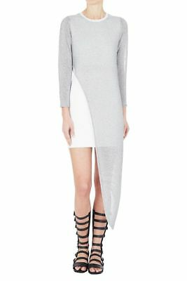 Sass Bide Long Lust Knit Bodycon Short Dress White Metallic Silver Sz Xs Nwt 9332809694427 Ebay