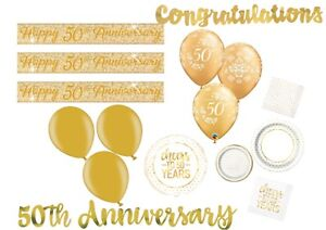 50th-GOLDEN-WEDDING-ANNIVERSARY-BANNER-BALLOONS-TABLEWARE-PARTY-DECORATIONS