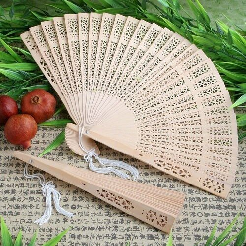 60 Bois de santal sculpté Jardin fans Robe de Mariage Baby Shower Party Favors
