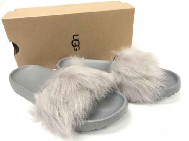 ff76ba4a640 UGG Australia Royale Seal Gray Toscana Leather Fur Slide Sandal SLIPPER  Size 10