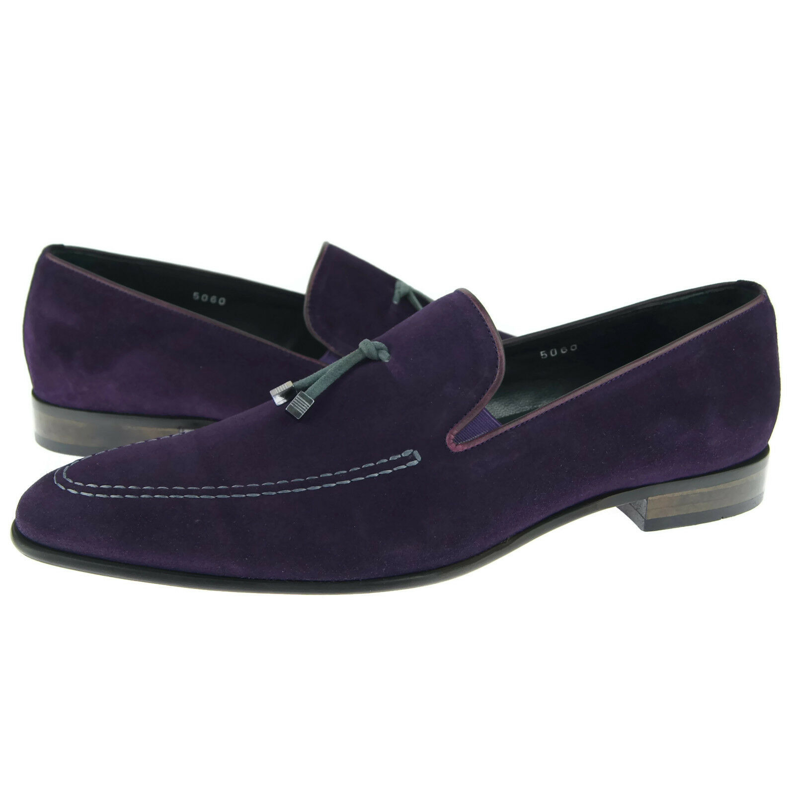 Corrente 5060 Suede Slip-on Loafer, Men's Dress Casual shoes, Purple