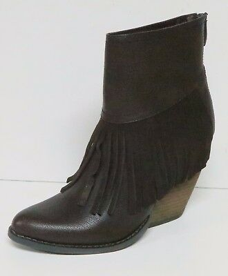 KENNETH COLE REACTION WOMEN/'S FRINGED ANKLE BOOTS BOOTIES FRINGE ZIP UP TOFFEE