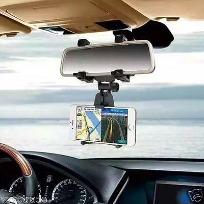 Universal Car Rearview Mirror CAR Mount Holder Stand Cradle For Cell Phone GPS