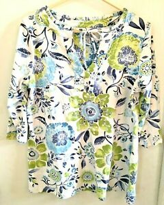 CARIBBEAN-JOE-Women-s-Top-Size-Large-3-4-Sleeves-Blue-Green-White-Floral