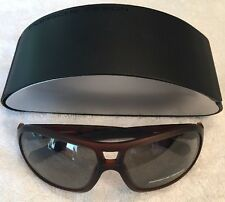 $400 New PORSCHE DESIGN P8537-D Womens Transparent Brown Sunglasses Grey Lens