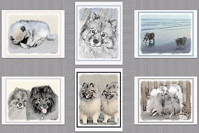 6 Keeshond Playtime Dog Blank Art Note Greeting Cards