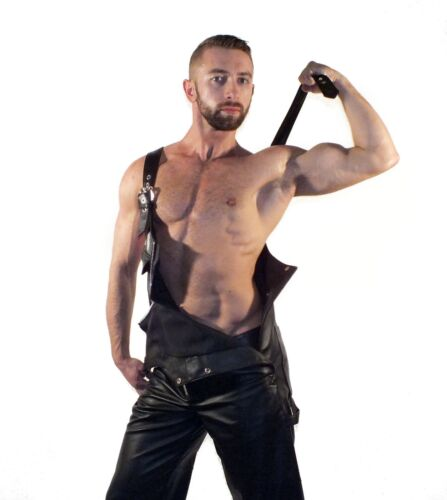 New Genuine leather Overall Dungree Jumpsuit Suit Dress Uniform Mens Gay Fetish