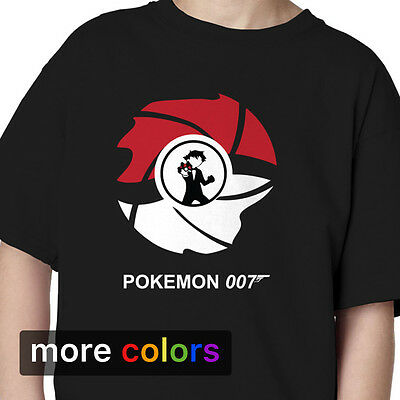 Pokemon James Bond 007 Kids Boys Girls T-shirt Pikachu Charizard Ash Ketchum Tee