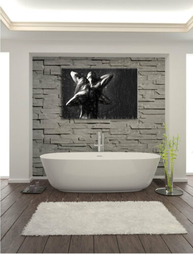 Fitness Pair Art Charcoal Effect Canvas Picture Wall Deco Art Print