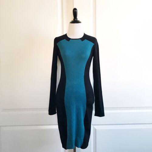 Karen Millen Women's Black Teal Color Block Knit L