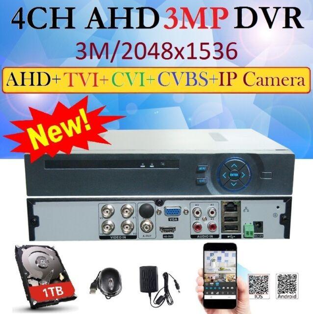 NEW 4Ch AHD 3MP 2048x1536 Hybrid CCTV DVR for AHD/TVI/CVI/CVBS/ IP Camera  +1TB