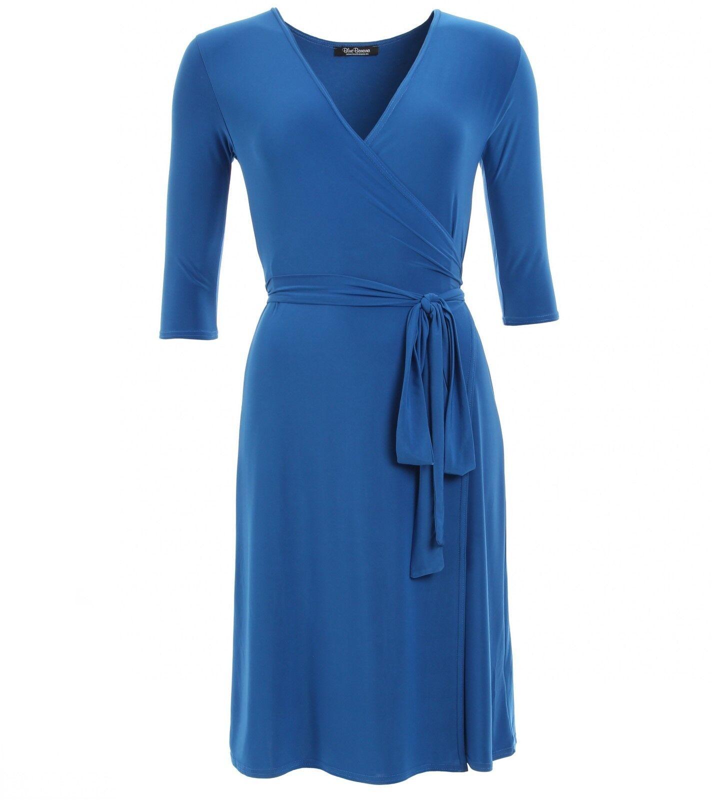 New Elegant Slinky V Neck Wrap Dress 3//4 Length Sleeve