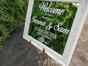Custom-Personalised-Wedding-Party-Event-Sign-Mirror-signage-prop-No-Frame
