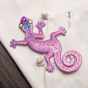 Animal-Iron-On-Badge-Patch-Embroidered-Lizard-Gecko-Transfer-Shirt-Jacket-Crafts