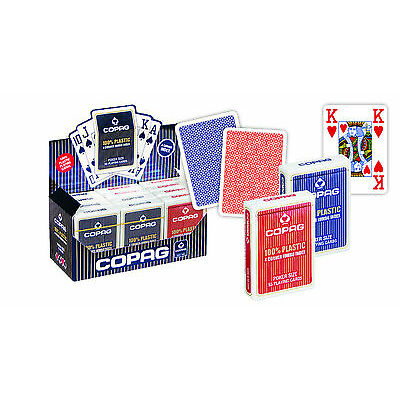 12 Copag Plastik Pokerkarten Jumbo Face Rot/Blau, 4 Pips,Kartenspiele von Frobis