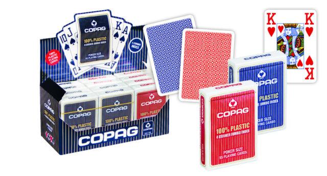2 Copag Plastik Pokerkarten Jumbo Face Rot/Blau, 4 Pips, Kartenspiele von Frobis