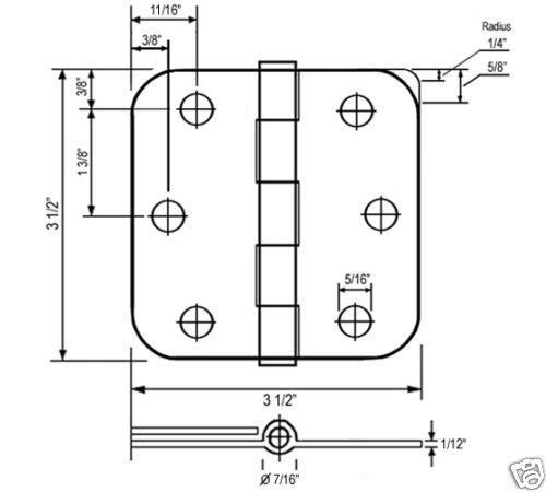 """Oil Rubbed Bronze 3.5/"""" X 3.5/"""" 5//8 Radius Round Corner Door Interior Hinge 3 1//2"""