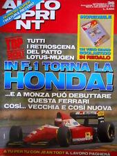 Autosprint 36 1993 PAtto Lotus Mugen. In F1 torna la Honda. Jean Todt  SC.54