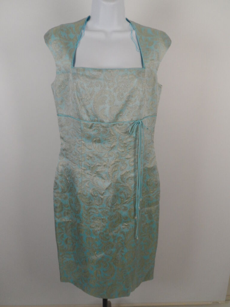 Maggy London Dress Größe 6 Turquoise Sleeveless Acetate Cotton Blend Dry Clean
