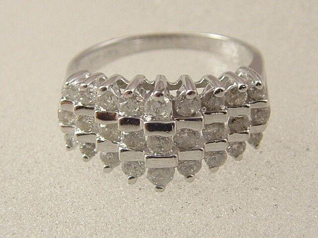 10K DIAMOND PYRAMID RING 3 ROW 0.75 CARAT 10 KARAT SOLID WHITE gold LADIES RING