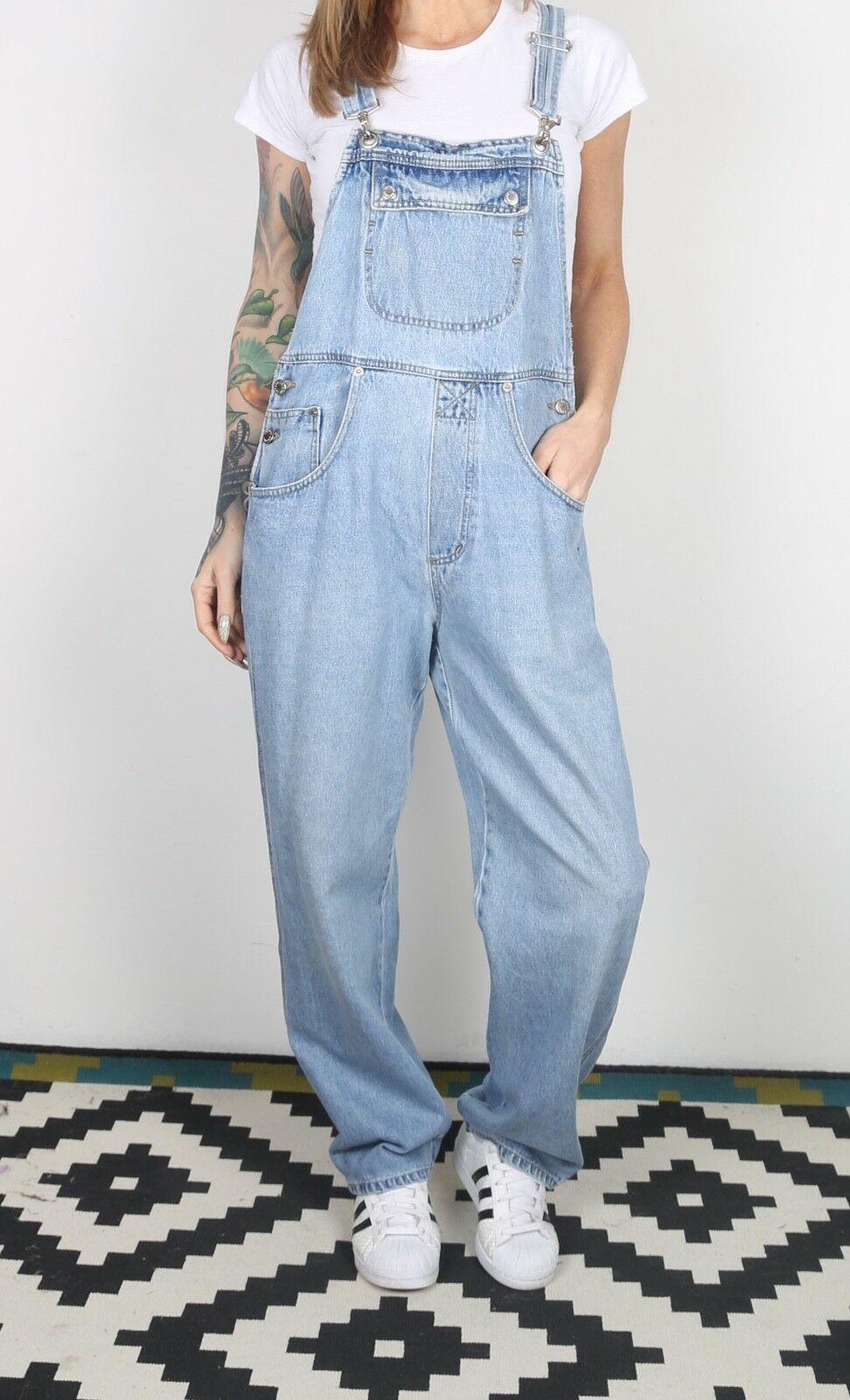 Denim Dungarees Medium Fitted 10 Small Oversized Wide Leg  (X2H)