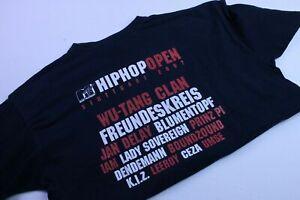 Hip-Hop-Open-T-shirt-Herren-Gr-L-Vintage-Streetwear-Schwarz-Rot-Wu-Tang-Clan