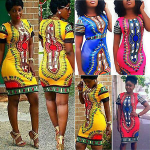 Womens-African-Printed-Short-Mini-Dress-Dashiki-Bodycon-Summer-Pencil-Dresses
