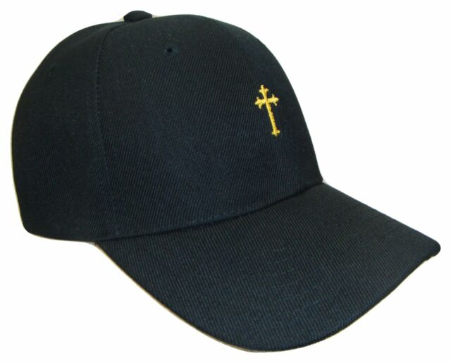 46d49bc79d3 Black Gold Small Christian Cross Religious Theme Jesus God Baseball Cap  Caps Hat