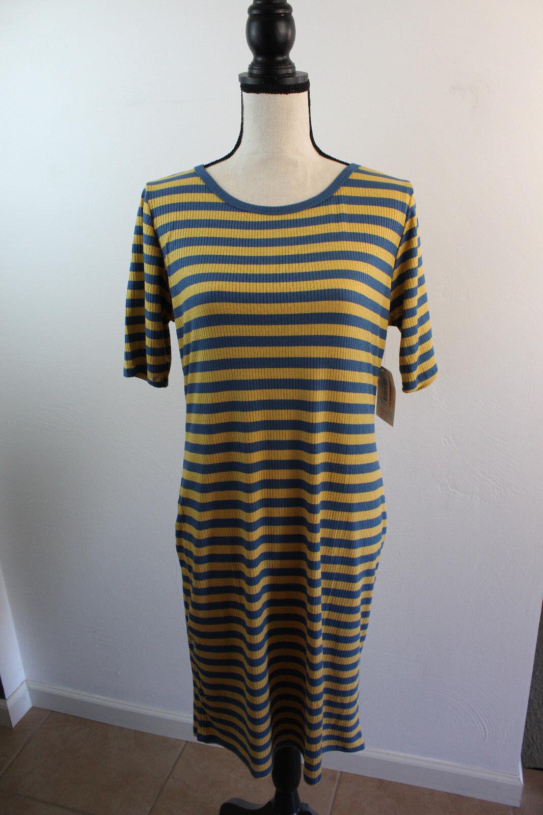 NWT Women's Lularoe Julia Dress Striped bluee gold Dress Sz Medium Lularoe Dress