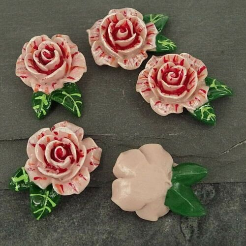 Resin Flat back Embellishments Craft C32 Cabochon Pink Roses with leaves
