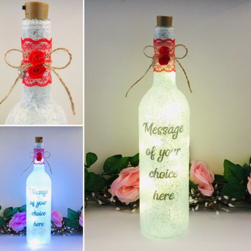 Birthday Handmade Light Up Bottle Personalised Message Christmas Mothers Day