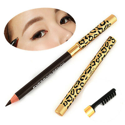 1X Makeup Leopard Long lasting Waterproof Eyeliner Eyebrow Pencil With Brush New