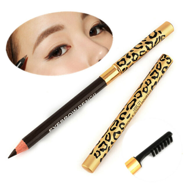 Beauty Make Up Leopard Longlasting Brown Eyeliner Eyebrow Pencil With Brush