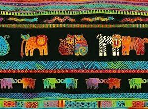 Mythical-Jungle-Animal-Stripe-Y2135-3M-Black-w-Metallic-by-Laurel-Burch-BTY