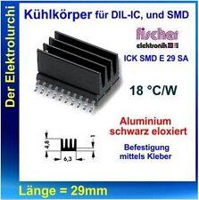 2x Kühlkörper für DIL-IC, und SMD,18 K/W,Alu/schwarz, 19mm,Headsink, Fischer NEU