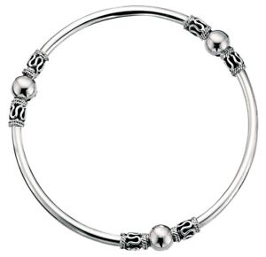Elements 3mm 925 Polished Oxidised Sterling Silver Indonesian Bali Style Bangle
